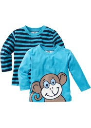 Longsleeve (set van 2), bpc bonprix collection, turkoois+blauw