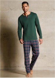 Pyjama, bpc bonprix collection, donkergroen geruit
