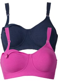 Voedingsbeha (set van 2), bpc bonprix collection, donkerblauw+fuchsia