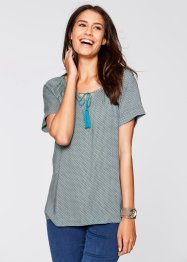 Blouse, bpc bonprix collection, mineraalblauw gedessineerd