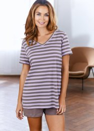 Shirt (set van 2), bpc bonprix collection, lichtpink/viooltjeslila gestreept