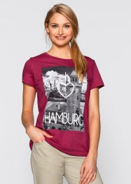 Shirt, bpc bonprix collection, bessenrood met print Hamburg