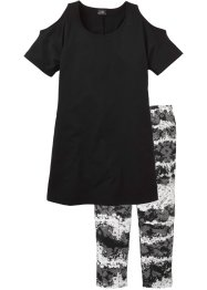 Pyjama, bpc bonprix collection, zwart met print