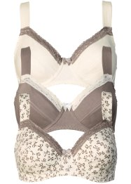 Beha (set van 3), bpc bonprix collection, gedessineerd+taupe+champagnekleur