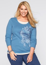 Longsleeve, bpc bonprix collection, grijsblauw met print