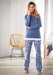 Pyjama, bpc bonprix collection, indigo gemêleerd/gedessineerd