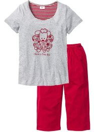 Pyjama, bpc bonprix collection, lichtgrijs gemêleerd/donkerrood