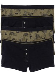Boxershort (set van 4), bpc bonprix collection, kakigroen/zwart gedessineerd
