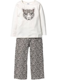Pyjama (2-dlg. set), bpc bonprix collection, wolwit/zwart