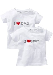 Babyshirt (set van 2), bpc bonprix collection, wit met print