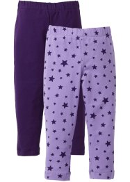 Legging (set van 2), bpc bonprix collection, lila gedessineerd+donkerpaars