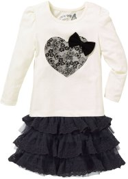 Shirt+rok (2-dlg. set), bpc bonprix collection, crèmewit/zwart