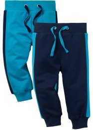 Sweatbroek (set van 2), bpc bonprix collection, donkerblauw/donkerturkoois