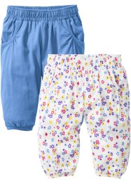 Babybroek (set van 2), bpc bonprix collection, middenblauw/wolwit