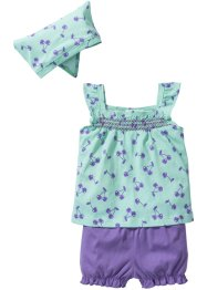 Top+short+sjaal (3-dlg. set), bpc bonprix collection, lichtmint/lichtpaars