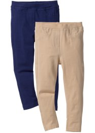 Jegging (set van 2), bpc bonprix collection, middernachtblauw+sand
