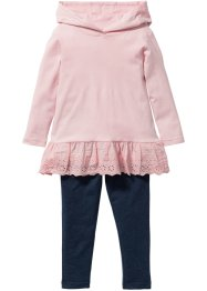 Longshirt+legging (2-dlg. set), bpc bonprix collection, zacht roze/blauw gemêleerd