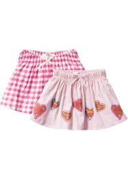 Rok (set van 2), bpc bonprix collection, zacht roze+pink geruit