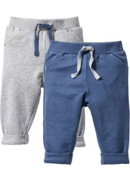 Sweatbroek (set van 2), bpc bonprix collection, lichtgrijs gemêleerd/indigo