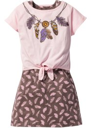 Jurk+shirt (2-dlg. set), bpc bonprix collection, roze poudre/middenbruin gedessineerd