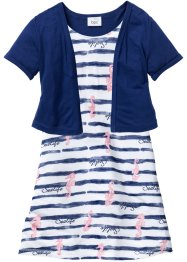 Jurk+bolero (2-dlg. set), bpc bonprix collection, wit/blauw gedessineerd