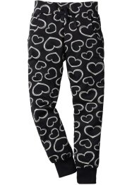 Sweatbroek, bpc bonprix collection, zwart gedessineerd hartjes