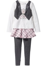 Outfit (3-dlg. set), bpc bonprix collection, antraciet gemêleerd/wolwit/zacht roze/wit