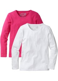 Longsleeve (set van 2), bpc bonprix collection, donkerpink/wit
