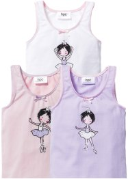 Hemdje (set van 3), bpc bonprix collection, wit/lila/roze