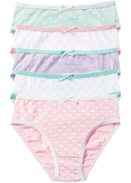 Slip (set van 5), bpc bonprix collection, wit/roze/lila/mint
