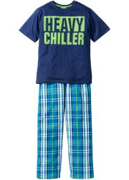 Pyjama (2-dlg. set), bpc bonprix collection, blauw/turkoois/groen/wit