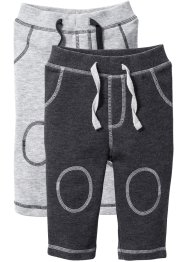 Sweatbroek (set van 2), bpc bonprix collection, lichtgrijs gemêleerd/antraciet gemêleerd