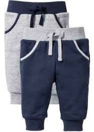 Sweatbroek (set van 2), bpc bonprix collection, donkerblauw/lichtgrijs gemêleerd