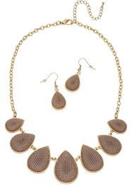 Halsketting+oorbellen (3-dlg. set), bpc bonprix collection, goudkleur/bruin