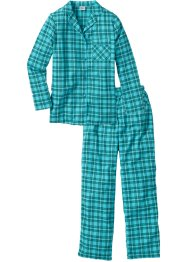 Flanellen pyjama, bpc bonprix collection, petrol geruit