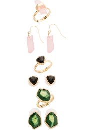 Oorbellen+ringen (9-dlg. set), bpc bonprix collection, goudkleur/multicolor