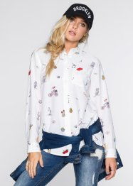 Blouse, RAINBOW, wit/zwart gedessineerd