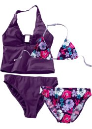 Bikini+tankini (4-dlg. set), bpc bonprix collection, donkerpaars met print