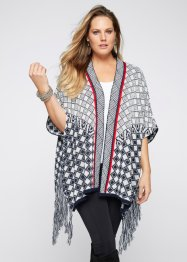 Poncho, BODYFLIRT boutique, crème/donkerblauw/rood
