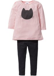 Longshirt+legging (2-dlg. set), bpc bonprix collection, antraciet gemêleerd/zacht roze