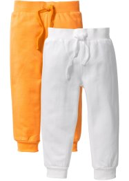 Sweatbroek (set van 2), bpc bonprix collection, wolwit+nectarine