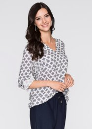 Blouse, BODYFLIRT, wit/donkerblauw gedessineerd