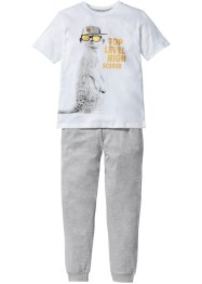 Pyjama (2-dlg. set), bpc bonprix collection, wit/blauwpetrol