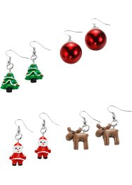 Oorbellen «Christmas» (4 paar), bpc bonprix collection, zilverkleur/multicolor