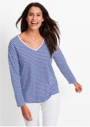 Longsleeve, bpc bonprix collection, saffierblauw/wit gestreept