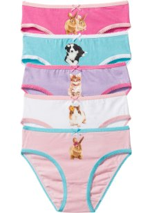 Slip (set van 5), bpc bonprix collection, roze/lila/wit/turkoois