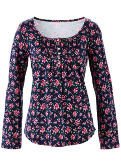 Shirt, bpc bonprix collection, donkerblauw gebloemd