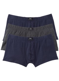 Boxershort (set van 3), bpc bonprix collection, antraciet gemêleerd/donkerblauw