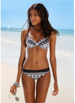 Beugelbikini (2-dlg. set), bpc bonprix collection, zwart/wit gedessineerd