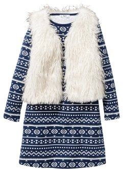 Mini-jurk+vest (2-dlg. set), bpc bonprix collection, donkerblauw/wolwit
